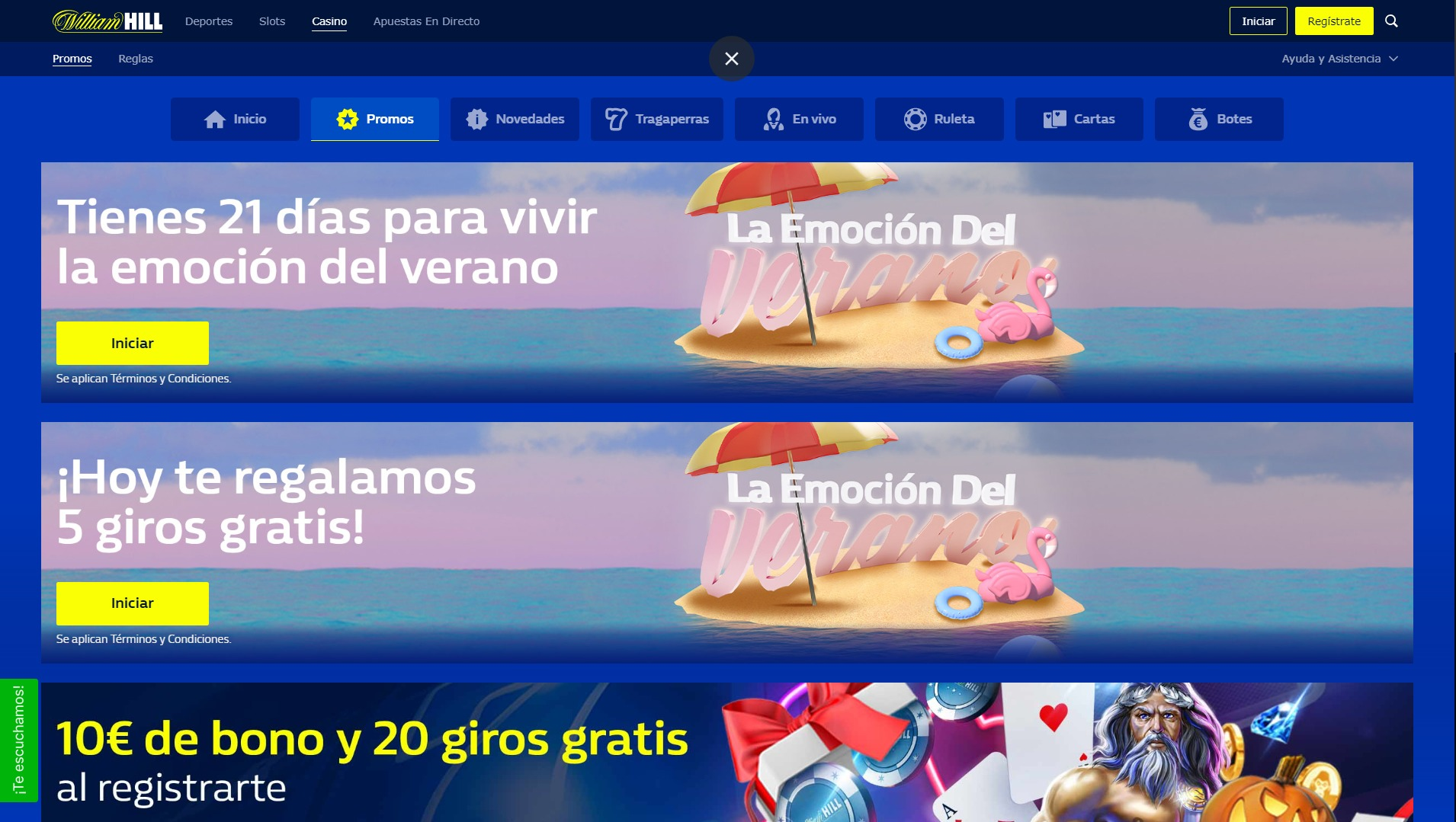 William Hill Casino Promo Ordenador